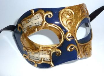 Genuine Venetian Blue with Gold Leaf Mask (1a